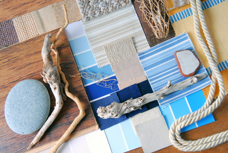 interior design color and  upholstery planning concept of sea and marina style
