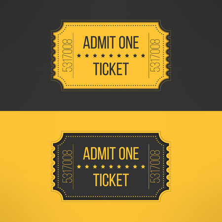 Entry ticket in stylish vintage style. Admit one cinema, theater, zoo, festival, carnival, concert, circus event. Pass icon for online tickets booking. Vector illustration.