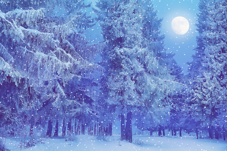 Christmas landscape full moon eating in the snow the snow falls, the holiday atmosphere of the fairy forest