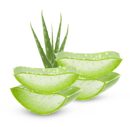 Photo pour Aloe vera leaves isolated on white background  - image libre de droit