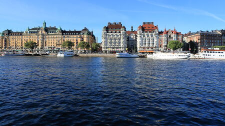 View over water in towards downtown Stockholm