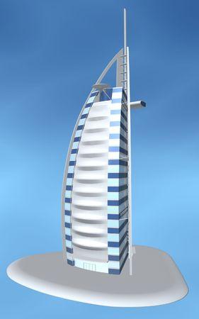 Burj al arab hotel of dubai on blue background