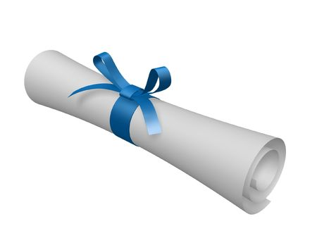 certificate scroll with blue ribbon isolated on white background