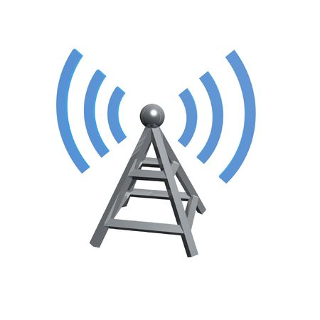 wireless tower with radio waves isolated on white background