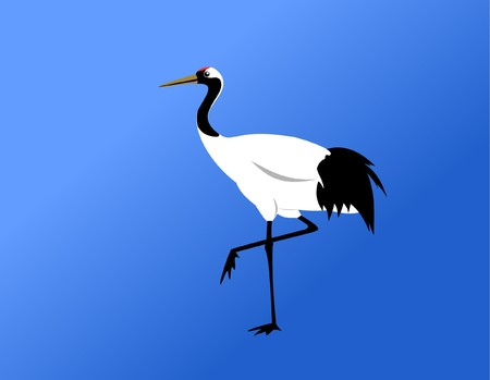 chinese red-crowned crane standing on blue background