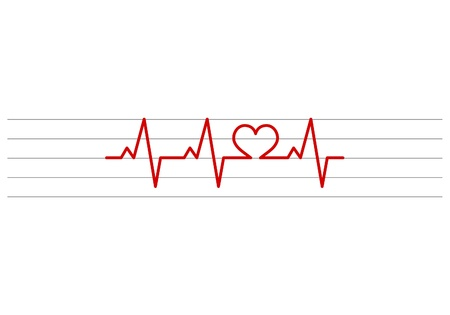 heart shape electrocardiogram vector on stave background