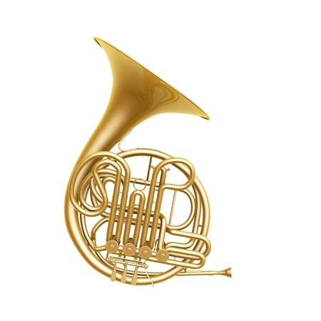 golden french horn isolated on white background