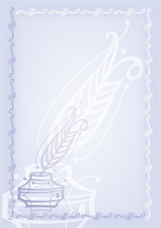 Pen. Blue blank with border