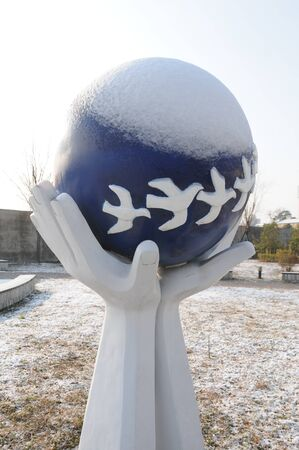 sculpture with snow covered on it