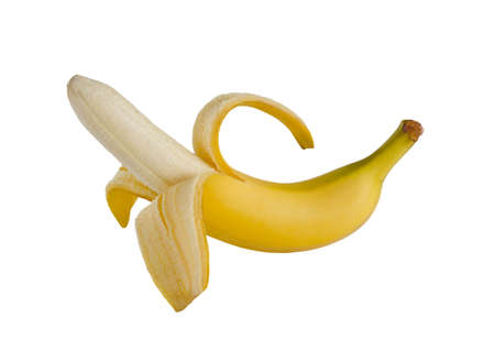 Photo pour Half peeled banana isolated on a white background - image libre de droit