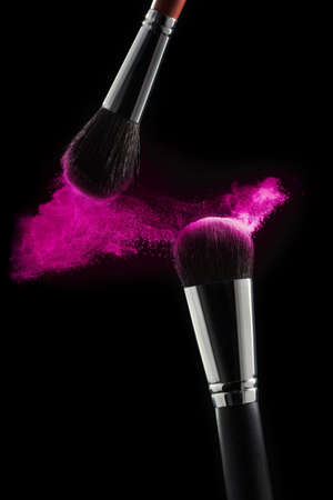 Photo for Makeup brush with pink powder isolated on white. Professional cosmetic brushes - Royalty Free Image