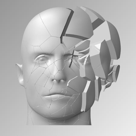 Broken head illustration.