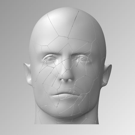 eps10. Broken head, 3d illustration. The split face of a person