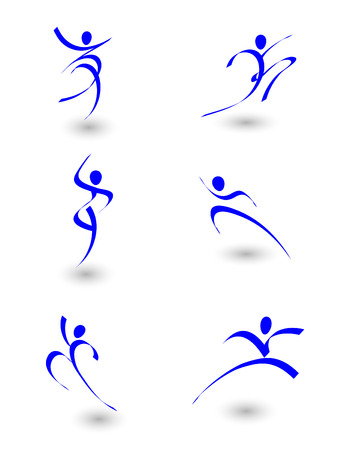 Illustration pour illustration of abstract figures in motion - image libre de droit