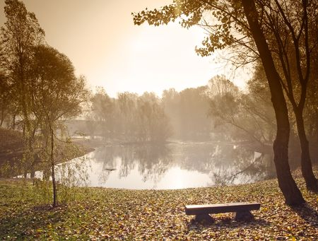 Early morning over small lake with sepia toned sky.