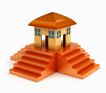 a house on top of stairs