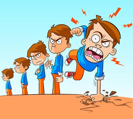 Illustration pour angry boy. children growth and aggressive manners - image libre de droit