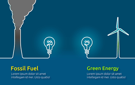 Green energy VS polluting fossil fuels