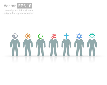 Illustration pour People of different religions and creed. Islam (Muslim), Judaism (Jew), Buddhism (???Buddhist ), Christianity, Hinduism (Hindu), Bahia(?Bahaee), taoism (Taoist). Religion vector symbols and characters. friendship and peace for different creeds - image libre de droit