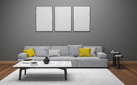 Photo pour 3D Realistic Mockup of living room Interior - image libre de droit