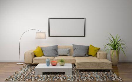 Foto de 3D Rendering of Interior of Modern Living Room with Sofa - Couch and Table - Imagen libre de derechos