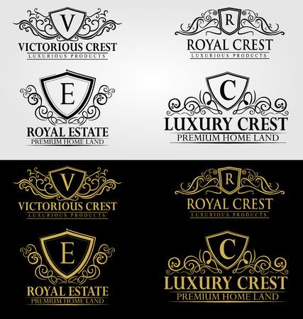 Ilustración de Heraldic Royal Luxury Crest Logo - Imagen libre de derechos