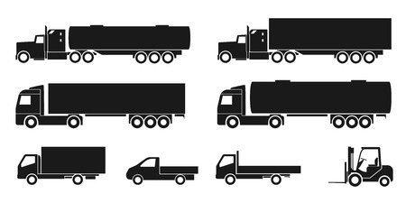 Illustration for set of black and white silhouette icons of trucks - Royalty Free Image