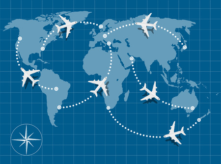 Illustration pour picture of world map with flying planes on it - image libre de droit