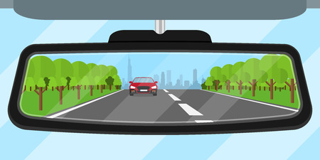 picture of a car rear view mirror reflected road, another car, trees and big city silhouette, flat style illustration