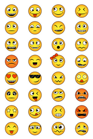 set of smiley faces with different emotions
