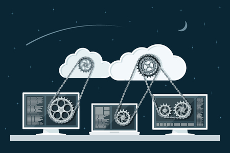 Illustration pour Cloud computing concept. Data storage network technology. PC and laptop connected to the clouds with gear transmission. Flat style illustration. - image libre de droit