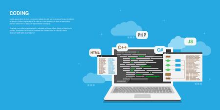 Illustration pour flat style banner design, coding, programming, application development concept - image libre de droit