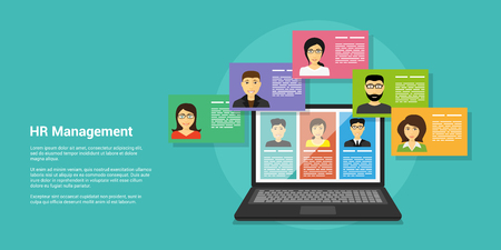 Illustration pour flat style banner, human resource and recruiting concept, laptop and people avatars - image libre de droit