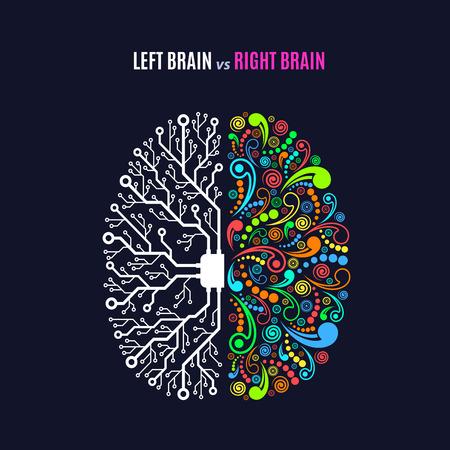 Illustration pour Left and right brain functions concept, analytical vs creativity - image libre de droit
