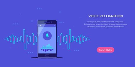 Illustration pour Voice recognition system concept banner. Smartphone with sound wave and microphone icon. Flat style illustration. - image libre de droit