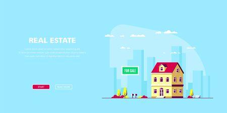 Illustration for Real Estate Concept Banner. Stock Vector illustration - Royalty Free Image