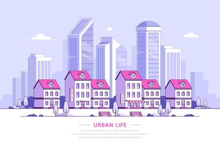Photo pour Urban landscape illustration, flat style banner design - image libre de droit
