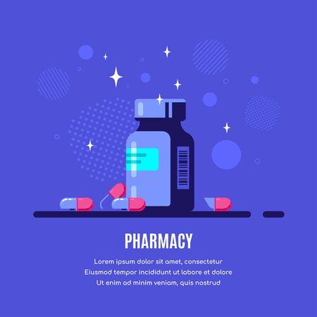 Ilustración de Medicine bottle and pills on blue background. Healthcare, pharmacy, drug store concept banner. Medication, pharmaceutics concept. Flat style illustration. - Imagen libre de derechos