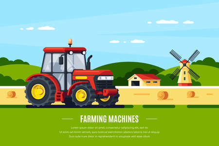 Illustration pour Modern tractor in the field, rural landscape. Farming machines. Flat style banner design - image libre de droit