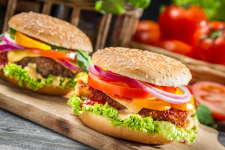Photo for Closeup of two homemade hamburgers - Royalty Free Image