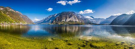 Crystal clear mountain lake in Alps, Hallstatt, Austria
