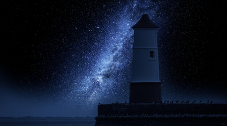 Photo for Milky way and lantern in enter to the sea - Royalty Free Image