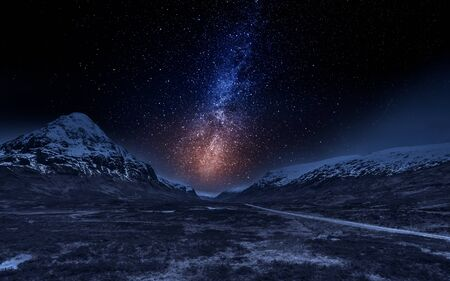 Photo pour Highlands in Scotland at night with stars - image libre de droit