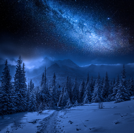 Photo for Milky way and Tatras Mountains in winter at night, Poland - Royalty Free Image