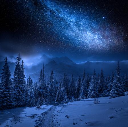 Foto de Milky way and Tatras Mountains in winter at night, Poland - Imagen libre de derechos