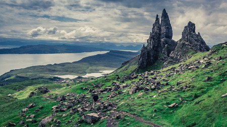 Photo pour Green Old Man of Storr, Skye in cloudy day - image libre de droit