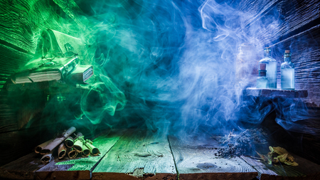 Photo for Halloween background with blue and green light and copy space - Royalty Free Image