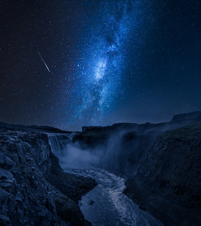 Photo for Stunning Dettifoss waterfall and milky way in Iceland at night - Royalty Free Image