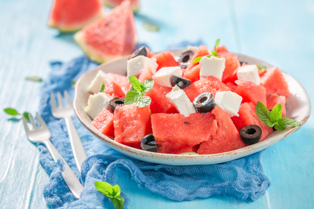 Foto per Fresh watermelon salad with black olives and feta cheese - Immagine Royalty Free