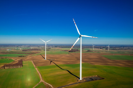 Photo for Aerial view of white wind turbines as pure energy - Royalty Free Image